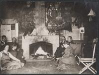 Group at Bull Head Lodge by Fireplace