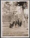 Charles M. Russell with Four Unknown Men after a Hunt