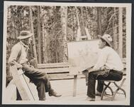 Charles M. Russell at Easel at Bull Head Lodge