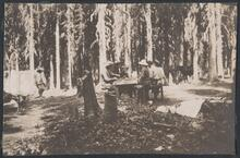 Group at Picnic Table in Woods