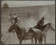 Three Horses Two Men in Corral