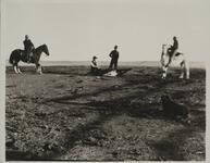 Men on Horseback with Roped Calf