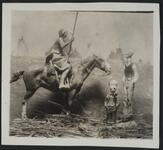Plaster Model of Indian on Horse and Two Men