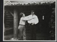 Two Men in front of Charles M. Russell's Montana Studio