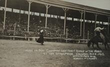 Postcard of Woman Roping Horse