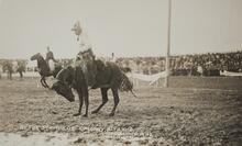 Postcard of Man on Bucking Horse