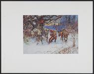 Jester and Knight on Horses in Snow