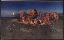 Cowboys around Campfire at Night