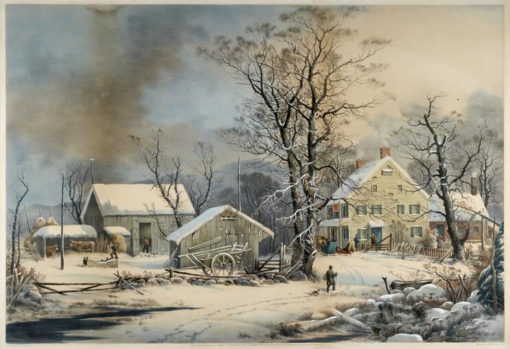 Country Winter Fine Art Print A Cold Morning Currier /& Ives Reproductions