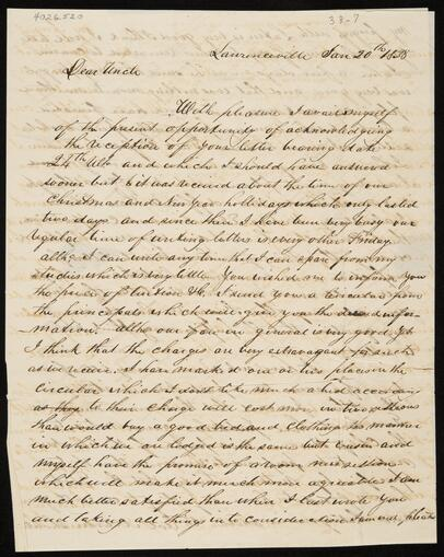 Letter from William Potter Ross to Chief John Ross (4026.520-.1)