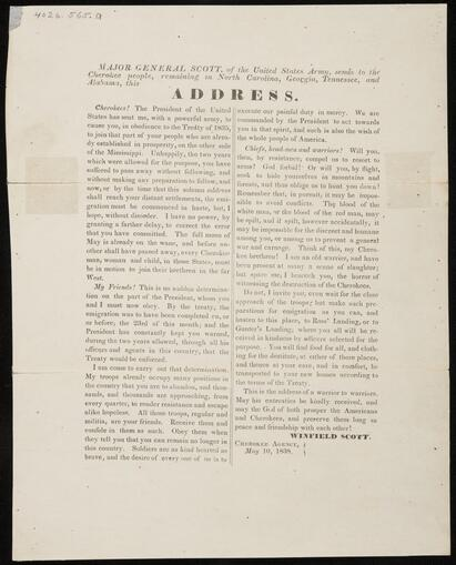 Printed 'Address' of Major General Winfield Scott to the Cherokee (4026.565a-b)