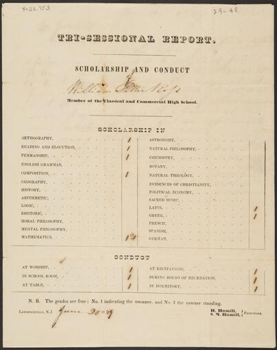 Report of William Potter Ross at Classical and Commercial High School (4026.753-.1)