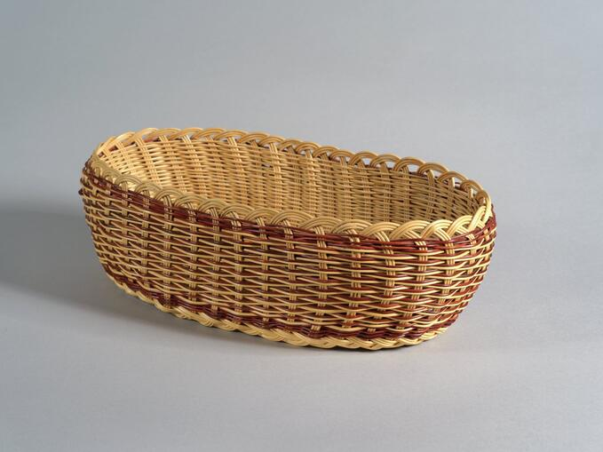 Oval double walled buckbrush basket (71.771)